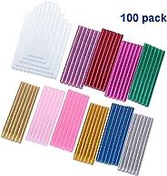 Ecjiuyi 100 Pack 11 Color Glitter Hot Melt Glue Gun Sticks Mini 7mm x 100mm for Handy DIY Tool Art Craft
