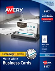 Avery Two-Side Printable Clean Edge Business Cards for Inkjet Printers, Matte, White, Box of 400 (08877)
