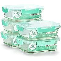 ensembe de 5 boîtes à lunch en verre, capacité de 1040ML (34oz), couvercles verts clairs, anti-fuite