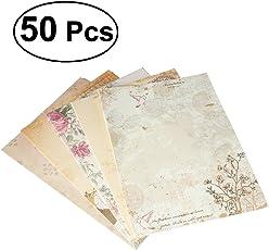 NUOLUX 50 Pcs Briefpapier Vintage Schreibpapier Briefe Schreibwaren Motivpapier