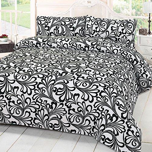 Dreamscene mayfair–set di biancheria da letto con federe damascato, nero, doppio