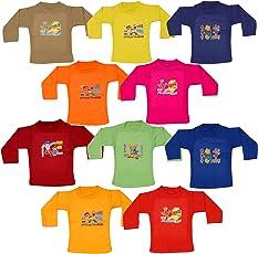 Tirupur Fashion Biz Boy's Cotton Full Sleeve Printed T-Shirts - Pack of 10