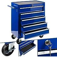 Arebos Servante Caisse à Outils d'Atelier | 5 Tiroirs | Bleu | Résistante aux rayures | Tiroirs avec revêtement…