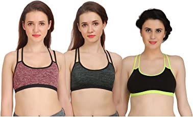 Arousy Girl's Seamless Wirefree Bra Non Padded Medium Coverage Bra for Women Racerback Style Cotton Lycra Sports Bra Pack of 3