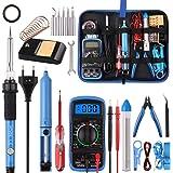 Soldadores de Estaño 24 Piezas, WOWGO 60W Kit Soldador Eléctrica con 5 Puntas, Temperatura Ajustable, Multímetro Digital, Sop