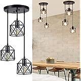 Ganeed Industrial 3-Light Pendant Light, Adjustable Flush Mount Ceiling Lighting for Kitchen Island Living Room Bedroom Hallw