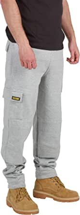 SITE KING Mens Cargo Combat Work Tracksuit Jogging Bottoms with Knee Pad Pockets Fleece Pants