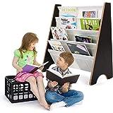 GOPLUS Bibliothèque pour Enfant en Bois avec 4 Compartiments Bibliothèque Porte-Revue, Etagère de Stockage pour Livres Magazi