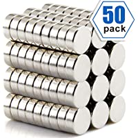50 PCS Refrigerator Magnets Premium Brushed Nickel Fridge Magnets, Office Magnets - 10 X 3 mm