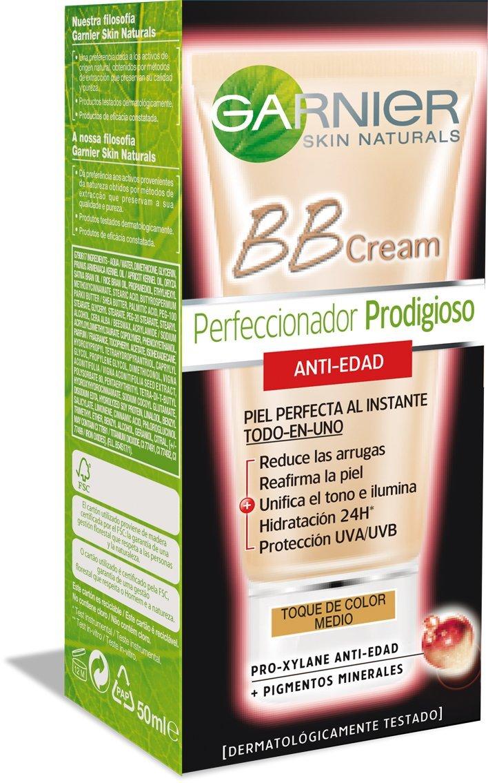 Garnier Skin Active BB Cream Perfeccionador Prodigioso Anti-edad, Tono: Medio – Total 50 ml