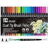 Färgmarkörer, Surcotto 24 färger dubbla borstpennor filtspets fineliners konst färgpennor för barn teckning, målning, kalligr