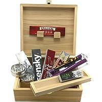 Boîte de Rangement XL pour Fumeur + Accessoires (rouleuse Conique, Feuilles Slim, Tips et Grinder métal)