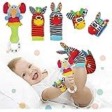 Synchain Baby Rattle Toy Neonato, 5 Pack Neonato Sonagli Calzini Polso,Simpatici Animaletti Developmental Soft Toys Bambole p