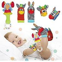 Synchain Baby Rattle Toy Neonato, 5 Pack Neonato Sonagli Calzini Polso,Simpatici Animaletti Developmental Soft Toys…