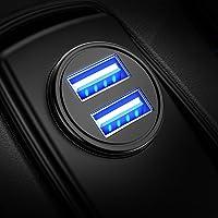 Caricabatteria auto USB, 4.8A Caricatore adattatore universale Caricabatterie da auto 2 Porte Super Mini Alluminio…