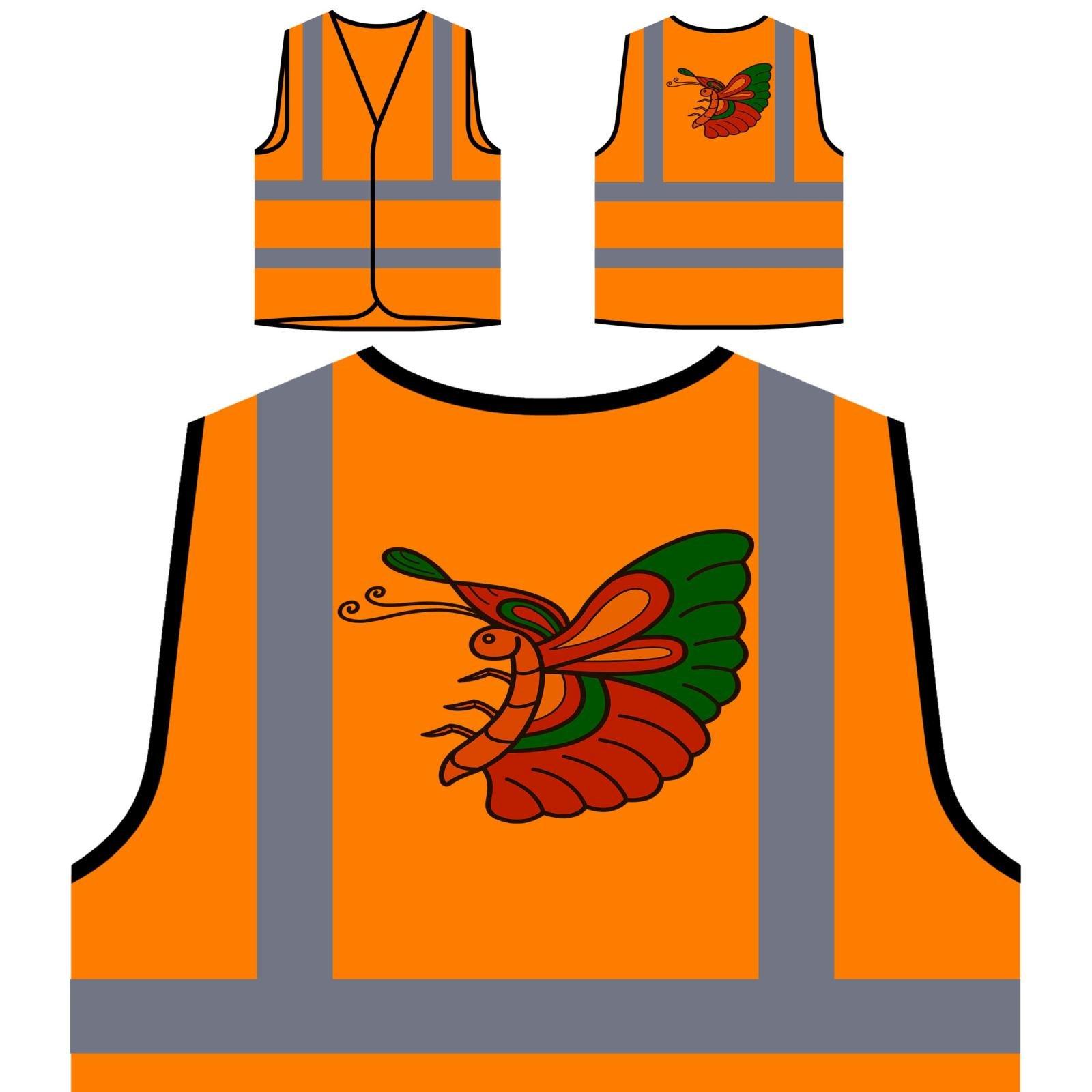 Nuova Annata Del Tatuaggio Della Farfalla Personalizzato Hi Visibilità Giacca Gilet Arancione di sic