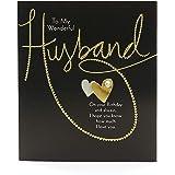 Biglietto di compleanno per marito – Biglietto di compleanno per lui – Design contemporaneo con scritta dorata.