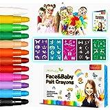 Pinturas Cara para Niños-Alotlucky 12 Colores Pinturas Faciales y Corporales, Pintura Facial no Tóxicos con y 5 Plantillas-Pe