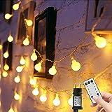 Catena luminosa 15m 100 LED Bulbo Luci di Natale con 8 Modelli Feste Lampade Ghirlanda Decorazioni Lucine con Telecomando e I