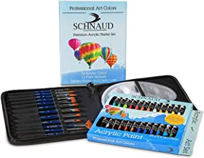 SCHNAUD Acryl-Farben-Set, 24 Farben + 12 Künstler-Pinsel + Mischpalette + Künstler-Mäppchen + Einsteiger E-Book (50 Seiten), Ideal für Anfänger und Profis, Malfarben