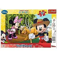 Trefl - 31131 - Cadre de puzzle - Mickey Mouse - Dans la campagne - 15 Pièces