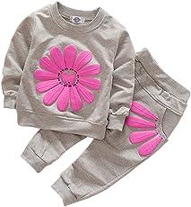 BOBORA Bambini ragazze maniche lunghe tute girasole felpa con cappuccio camicie e pantaloni