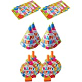 PARTY Happy Birthday Print Gift Bags, Hats and Horns Set, 32243 Multi Color Set of 12