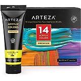 Arteza Akrylfärgset, 14 färger, stora 120 ml akrylfärgsrör med förvaringsbox, rika pigment, icke-blekande, konstmaterial för