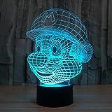 3D Lámpara de Escritorio Win-Y LED 7 del tacto del color de la lámpara del dormitorio del hogar decoración de la oficina para