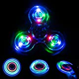 Wooce Led Finger Spinner Toy Hand Spinner Toy Finger Spinner Toy EDC Metal Stress Reducer for ADHD ADD Anxiety Autism (Crysta