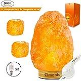 Omonic (2-3 kg) Lampe de Sel de l'Himalaya Himalayenne rose Cristal Lampe Lampes de table - variateur de contrôle tactile - Premium base de bambou - 3 Ampoules Gratuit Lot de 2 bougeoirs au sel