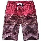 GRMO Men Casual Print Straight Leg Relaxed Fit Board Shorts Beach Swim Trunk