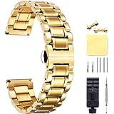 BINLUN 6 Colores CorreasDe Reloj Acero Inoxidable con Extremo Recto Y Curvado (Oro, Plata, Negro, Oro Rosa, Oro Y Plata De D