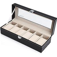 Readaeer scatola porta orologi per 6 orologi Box Storage con coperchio in vetro nero in similpelle