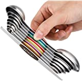YOROO Cuillères à Mesurer Magnétiques Magnetic Measuring Spoons Set,Double Face en Acier Inoxydable avec égaliseur et Cuillèr