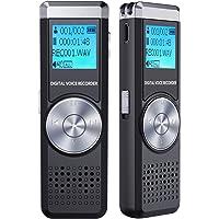 Dictaphone Numérique, TENSAFEE 16Go Enregistreurs Audio Vocal Numériques, Rechargeable HD Avec Double Micro Enregistreur, Lecteur Mp3 Enregistreur Voix Pour Conférence/Lecture/Interviews/Classe