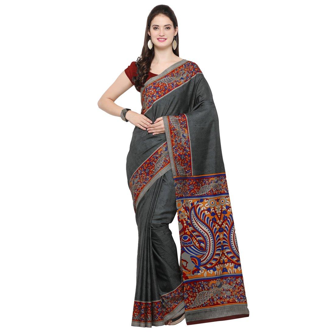 Kanchnar Women's Grey Tussar Silk Kalamkari Print Saree