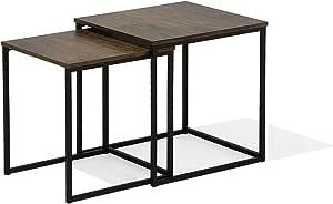 Beliani Set di 2 tavolini da caff/è Vintage//Nero Denny