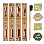 Set de 4 cepillos de dientes madera de Bambú, vegano , biológico , biodegradable,100% libre de BPA , carbón vegetal.