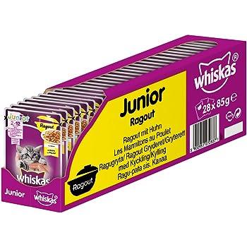 Whiskas Katzen-/Nassfutter Ragout Junior <1 mit Huhn in Gelee, 28 Portionsbeutel (28 x 85g)