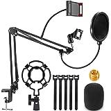 Renfox Supporto Microfono Regolabile Professionale Braccio per microfono Con Ragno e Adattatore per Studio Registrazione Prog