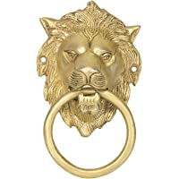 HomeDecorax Traders Gold Finish Brass Door Knocker Lion Face (5.5 Inch)