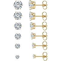 JDGEMSTONE Stainless Steel Silver Gold 6P Stud Earrings Set for Women Men Girls Round,Square