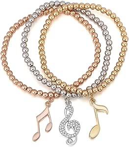 Braccialetto di fascino delle donne, braccialetto di allungamento Braccialetto Note di musica Braccialetto del polsino del braccialetto per le ragazze con il cristallo