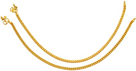 Deccani Handicrafts Metal Alloy Chain Anklet for Women (Gold, P-ANKLET-01)