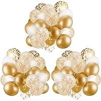 APERIL Ballon pour Décorations, 60 PCs Confettis Ballons Dorés,BallonsDorés Métalliques|Ballons Confettis Blancs et Or…