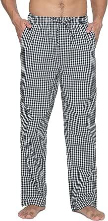 LAPASA Men's Pyjama Bottoms 100% Cotton Checked Flannel & 100% Woven Cotton Plaid Pants Loungewear Nightwear Trousers M38, M39