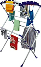 PAffy Steel Sumo Clothes Drying Stand, Large, White and Blue