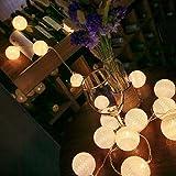 ELINKUME LED Bolas de algodón luces de hadas, 20 LEDs 10,8 pies, Operado con pilas, blanco cálido bola de algodón iluminación