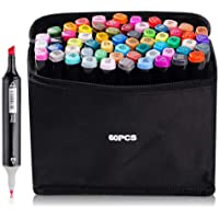 60 Couleurs Marqueurs Feutres à Alcool Permanents Marqueur Kit Alcool Double Pointe Crayon de Feutre Markers Créatif…